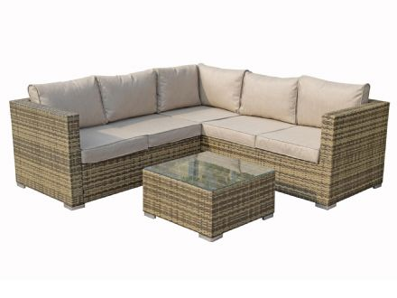 Georgia Square Corner Sofa Brown / Nature Weave